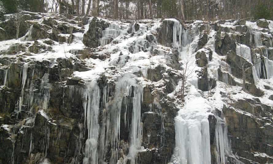 Snow melting on rocks