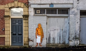A sadhu depicted in street art in Sheffield