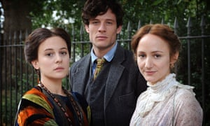 Phoebe Fox as Vanessa Bell, James Norton as Duncan Grant and Lydia Leonard as Virginia Woolf in <em>