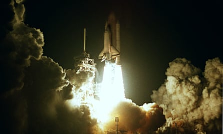 Dense layering of real events, technical language and US vernacular … a space shuttle launches.