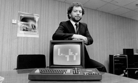 Alan Sugar with an early Amstrad computer in March 1984