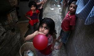 Palestinian children in a refugee camp in the northern Gaza Strip