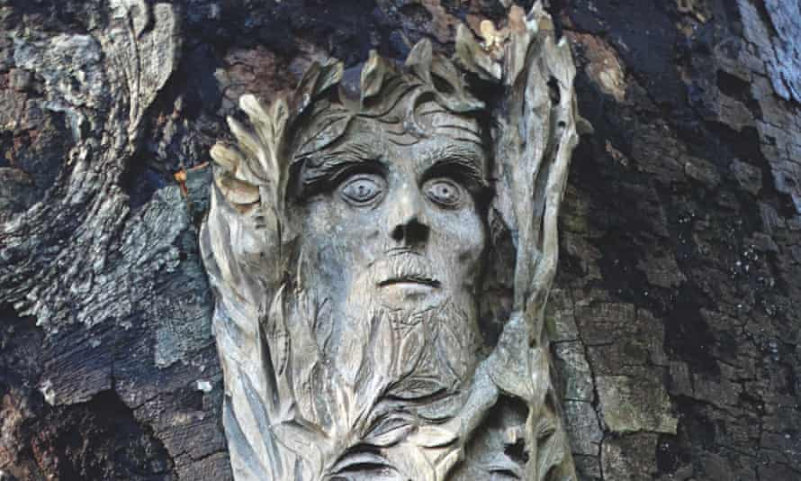 A Green Man by local sculptor and cabinet-maker Antoine Pierson at Thomas Pakenham's estate