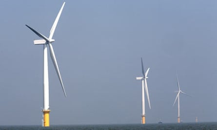 A wind farm of the coast of Essex