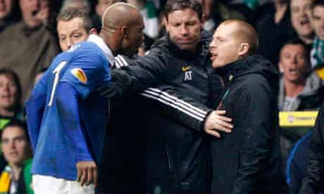 El Hadji Diouf argues with Neil Lennon during their Scottish Cup soccer match in Glasgow