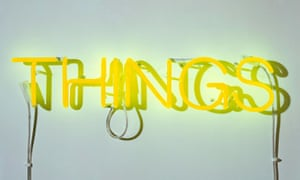 "yellow neon word ""Things"" - a sculpture by Martin Creed"