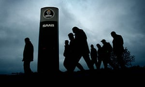 Workers leave Saab's car factory in Trollhättan