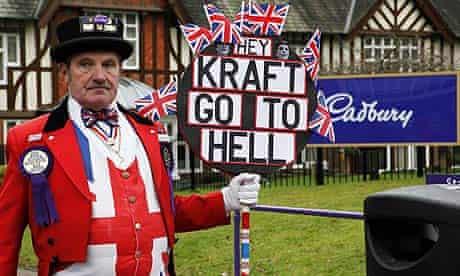 Ray Egan as John Bull protests at Kraft's takeover of Cadbury