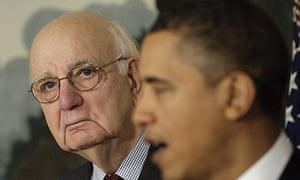 Paul Volcker, head of the Economic Recovery Advisory Board, with President Barack Obama