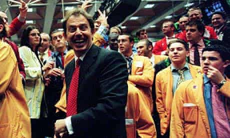 PRIME MINISTER TONY BLAIR AT THE LIFFE TRADING FLOOR IN LONDON