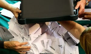 Ballot papers are counted in the Kirkcaldy constituency of Gordon Brown