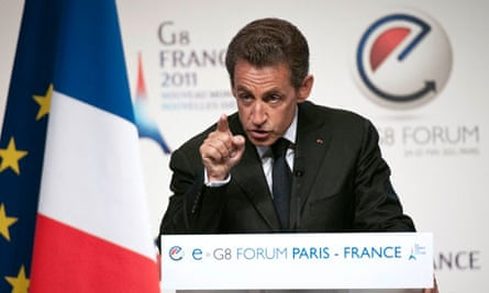 France's President Nicolas Sarkozy addresses the eG8 forum in Paris