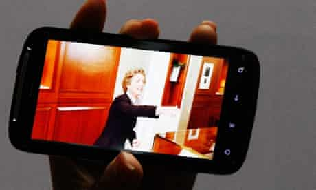 """A new HTC Android-based smartphone """"Sensation"""" is displayed during a news conference in Taipei"""