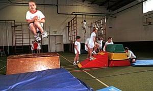 school children in the gym