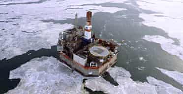 Oil rig near Sakhalin Island