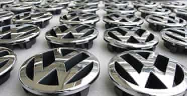 VW emblems at plant in Wolfsburg, Germany. Photograph: John Macdougall/AFP/Getty
