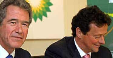 BP's outgoing chief executive Lord Browne with his replacement Tony Hayward. Photograph: John D McHugh/AFP/Getty