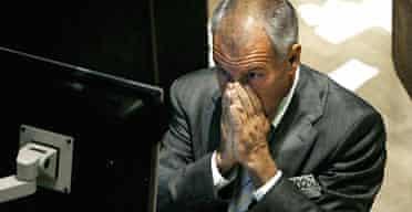 Trader on the New York Stock Exchange last night. Photograph: Justin Lane/EPA