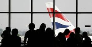 Passengers at Heathrow British Airways