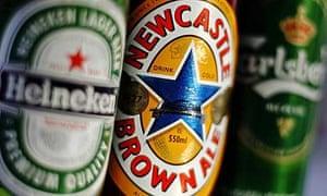 Newcastle Brown Ale, Heineken and Carlsberg beer