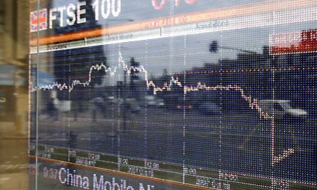 London stock market - FTSE down. Photograph: Martin Argles