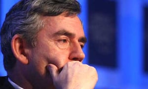 The prime minister, Gordon Brown, at the World Economic Forum in Davos. Photograph: Joel Saget/AFP/Getty Images