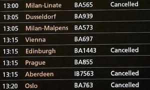 Cancellations at Heathrow Terminal 5. Photograph: Andy Rain/EPA