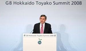 Gordon Brown speaking at G8 2008