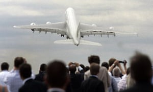 Airbus A380 at Farnborough air show. Photograph: Lefteris Pitarakis/AP