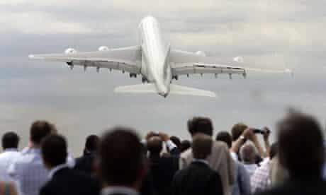 Airbus A380 at Farnborough air show. Photograph: Lefteris Pitarakis/AP