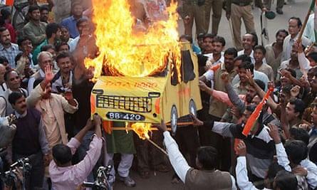 Protest in Singur against factory which will produce Tata Nano. Photograph: AFP/Getty Images