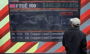 FTSE 100 London Stock Exchange. Photograph: Shaun Curry/AFP/Getty Images
