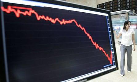 Asian stock markets fell again. Photograph: Ahn Young-Joon/AP