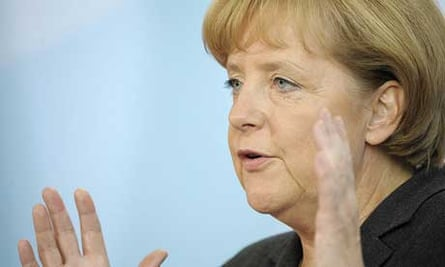German chancellor Angela Merkel announces a rescue package for the country's banking system