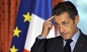 French president Nicolas Sarkozy issues a statement on the financial crisis at the Elysee Palace in Paris