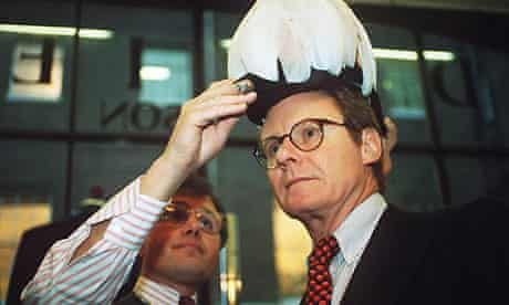 Richard Ralph being fitted for a ceremonial hat in 1996 for his role as governor of the Falkland Islands. Photograph: Times Newspapers/Rex Features