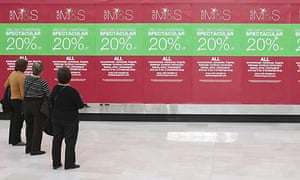 Marks and Spencer (M&S) sale in Westfield shopping centre. Photograph: Carl Court/PA
