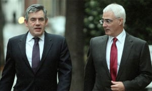 Prime minister Gordon Brown and chancellor Alistair Darling arrive at the Treasury as final preparations are made to deliver the pre-budget report