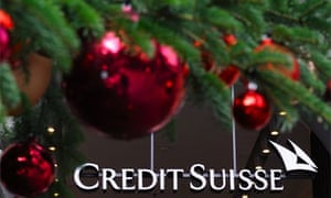 A Christmas tree at the headquarters of Swiss banking giant Credit Suisse