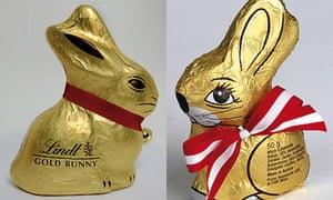 Lindt and Hauswirth chocolate rabbits