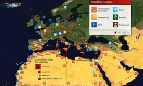 Desertec: power map from Sahara to Europe