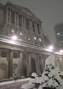 Bank of England in the snow