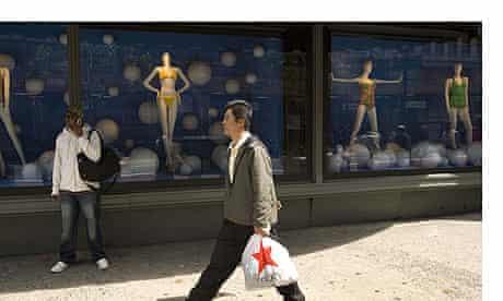 Shopper outside Macy's in Herald Square, New York