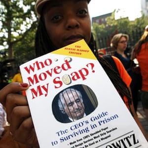 Bernard Madoff protester outside court