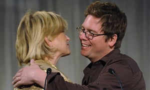 Twitter co-founder Biz Stone gets a hug from Martha Stewart at Webby Awards in New York