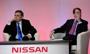 Gordon Brown and Lord Mandelson at the Nissan plant in Sunderland
