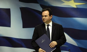 Greece's Finance Minister Papaconstantinou leaves a news conference in Athens