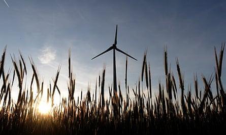 wind power turbine seen from a field