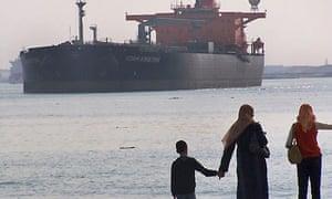 Suez canal in Ismailia, Egypt