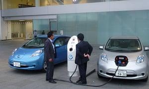 Nissan Leaf electric car being charged outside Nissan's Yokohama headquarters